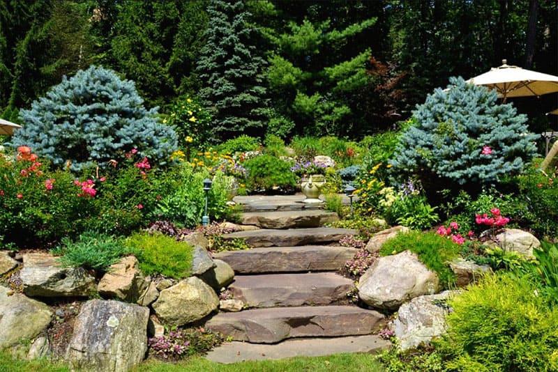 Лестница из камней как на фото становится частью рокария или альпинария