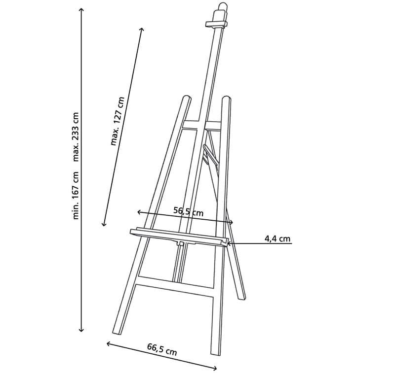 Схема с размерами мольберта-лиры