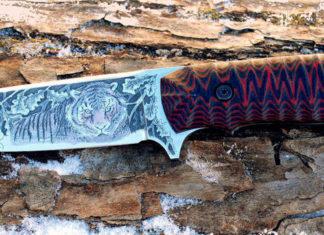 Нанесение и травление узора на стальном ноже