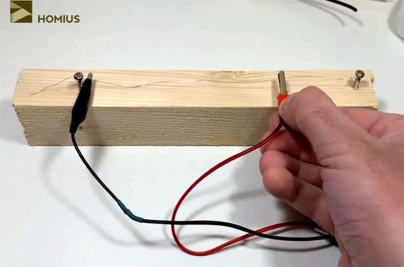 Опытным путём вымеряем длину нагревательного элемента