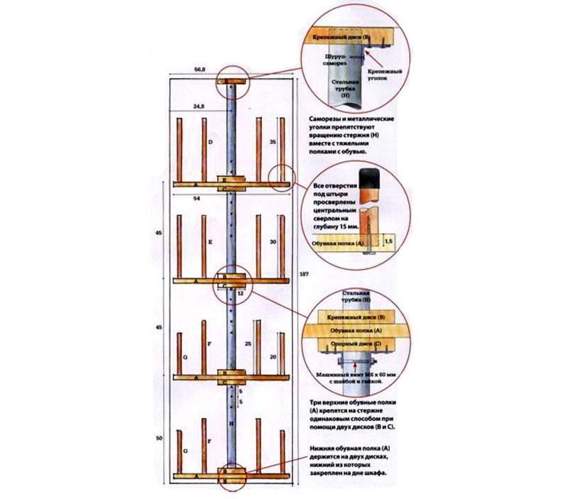 Вот пример той высокой круглой полки, которую умещают в шкаф, используя его дно и крышу в качестве опоры под металлический столб для вращения. Полки на стержне крепятся дисками, гайками, шайбами и уголками