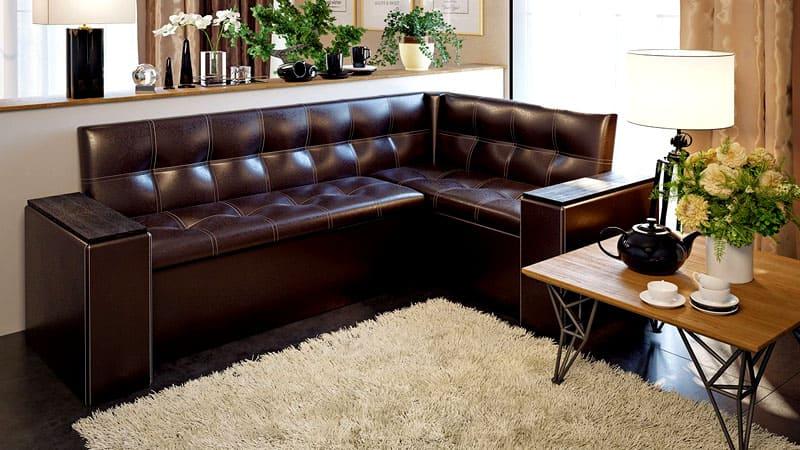 Элитный угловой диван для кухни из натуральной кожи