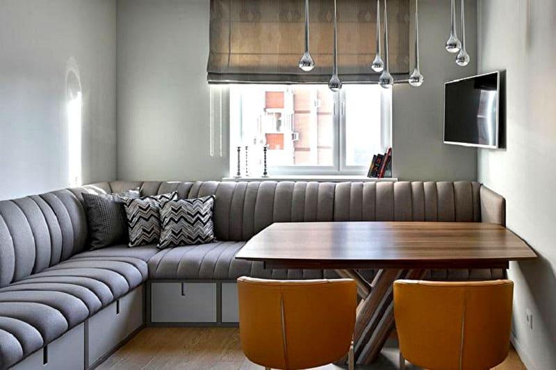 Угловой диван в стиле модерн должен быть максимально функциональным с ящиками для хранения
