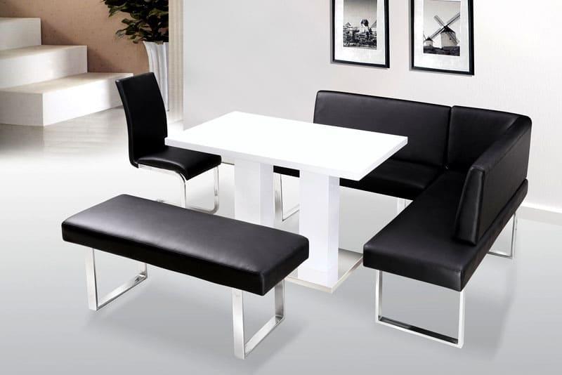 Угловой диванчик в виде скамьи в стиле хай-тек