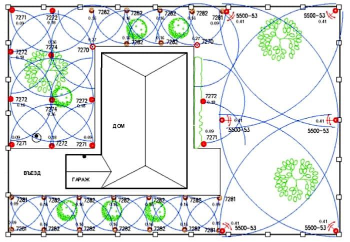 Зоны капельного полива также обозначаются на схеме
