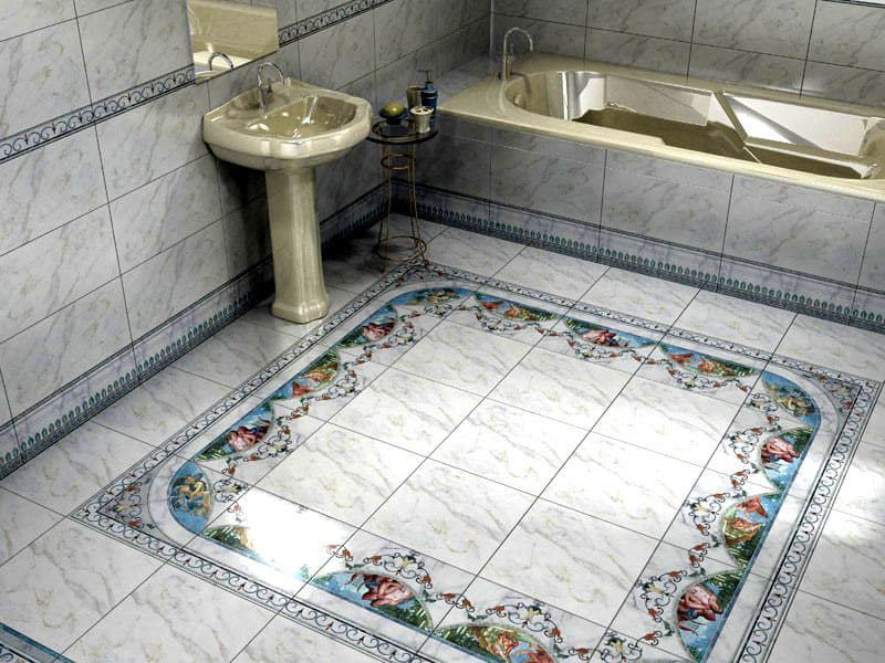 В небольших ванных комнатах лучше выбрать плитку без центрального рисунка