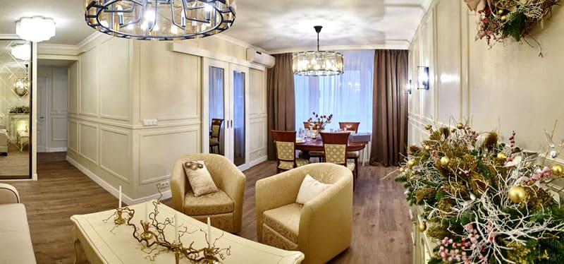 Планировка гостиной позволила выполнить удачное зонирование пространства