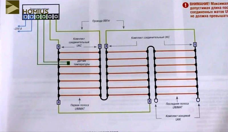 Схема подключения прогревочных матов и температурного датчика через терморегулятор