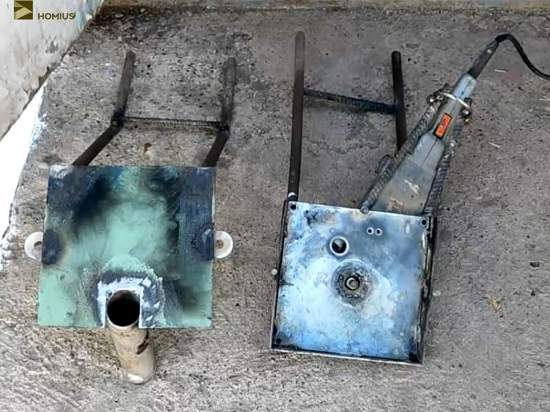 Вот так выглядит измельчитель в разобранном состоянии, осталось приварить трубу