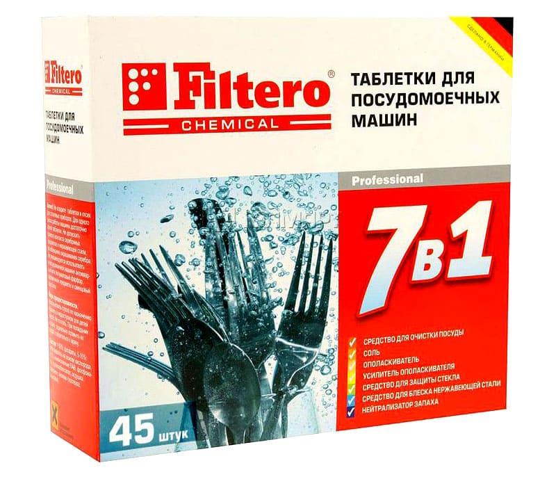 Одна таблеточка Filtero 7 в 1 справится с большой партией кухонной утвари