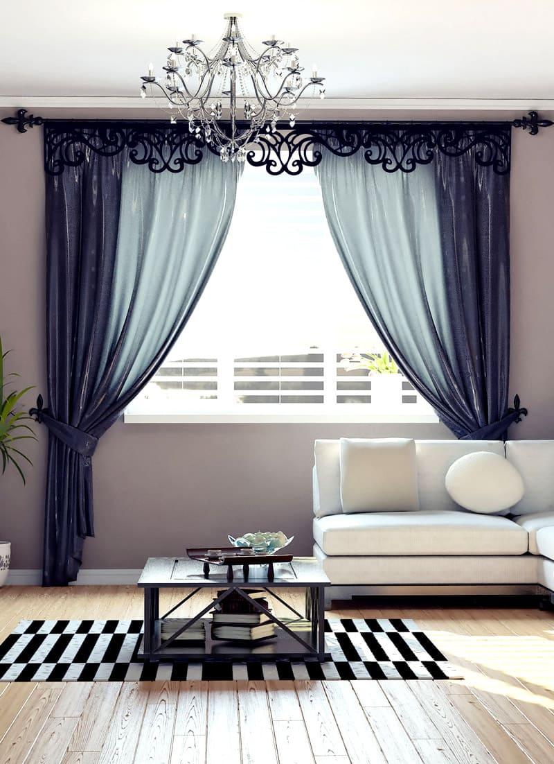 Ламбрекены делают вид комнаты ярким, эффектным, но для такой детали подбирают такую же ткань, как и для штор