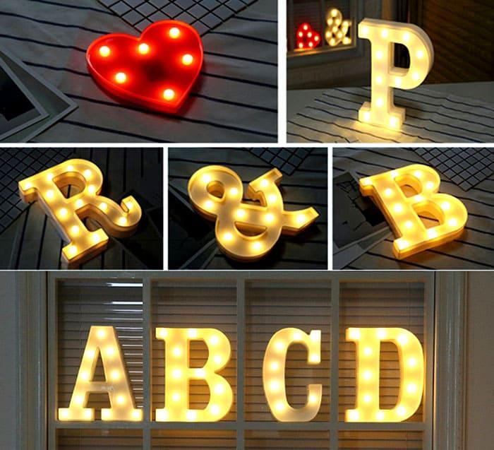 Такие буквы можно использовать в паре с другими, либо индивидуально в качестве ночника