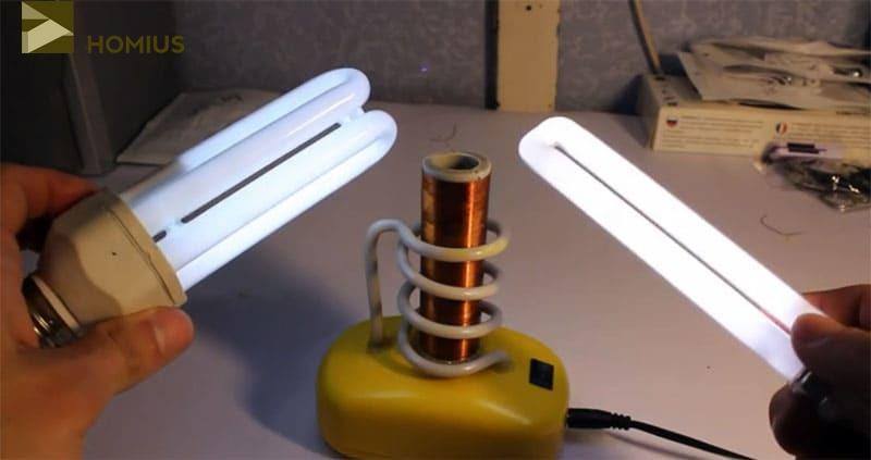 Вот такой эффект оказывает качер на КЛЛ и обычные люминесцентные лампы