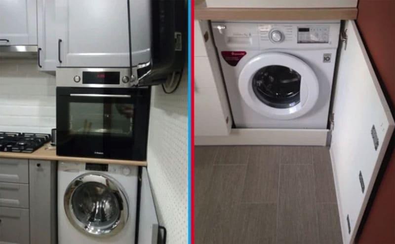 Для более плотного закрытия шкафчика со стиральной машинкой установлены магниты на обратной стороне дверцы