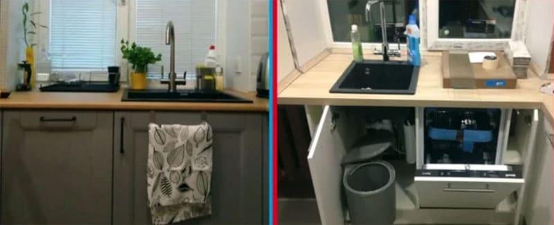 Поскольку установлена посудомойка, чашу раковины выбрали более компактного размера