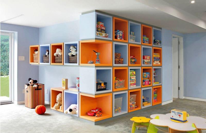 Стеллажи и ящики для игрушек