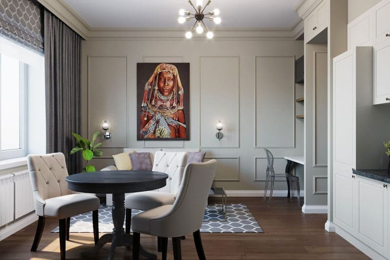 Пример идеального расположения перегородок из гипсокартона и красивого декорирования молдингами