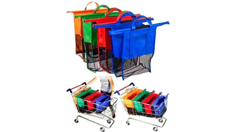 Дно сумки выполнено из крепкой сетки, поэтому на кассе не будет вопросов: «А покажите, что у вас в пакете»