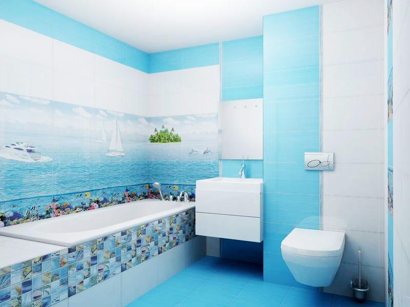 Рисунок на плитке, занимающий всю стену, может испортить даже самую современную ванную комнату