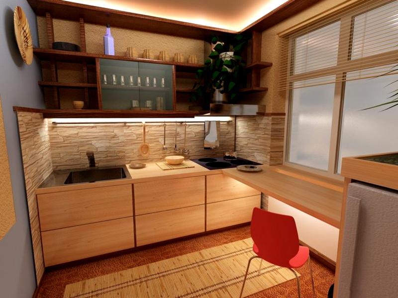 Маленькая кухня в природных красно-коричневых тонах превратит дом в оплот уюта и деревенского спокойствия