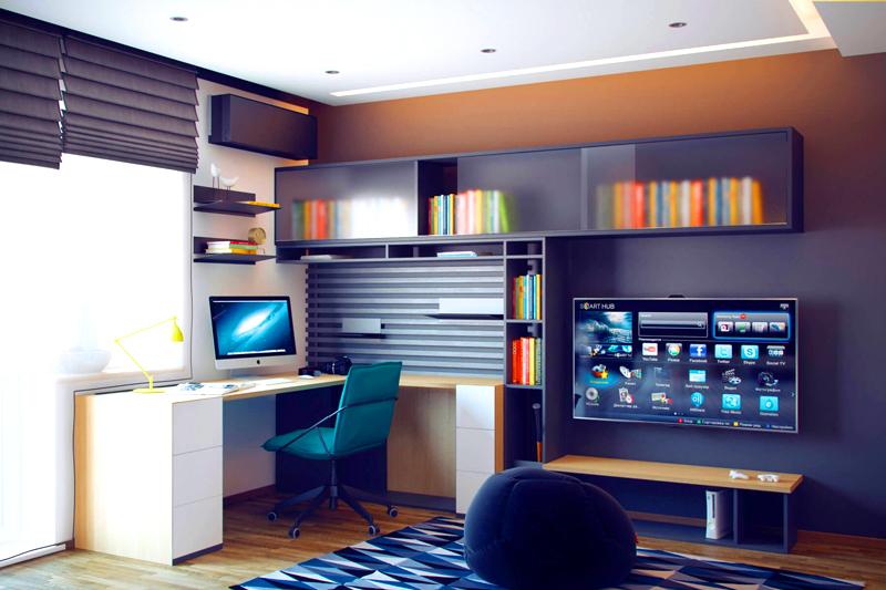 Большинство юношей выбирают строгую и лаконичную мебель для своей комнаты, так как хотят создать подобие взрослого рабочего кабинета