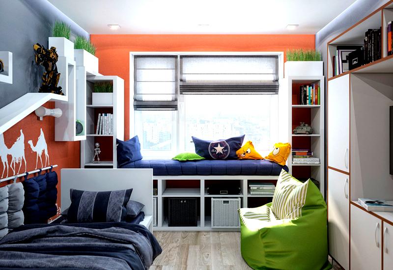 В комнате мальчика-подростка хорошо смотрятся мягкие пуфы ярких цветов и лаконичные кровати, комоды и шкафы