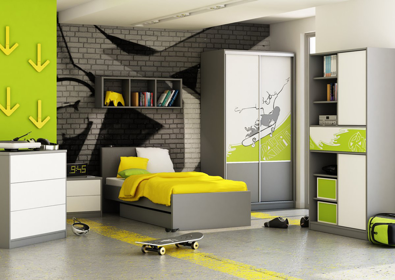 К оформлению стен можно подойти творчески, ориентируясь на вкусы ребёнка