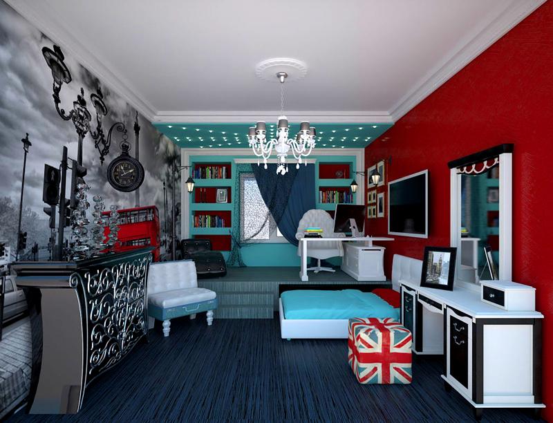 Многие современные подростки предпочитают дизайн спальни в американском стиле