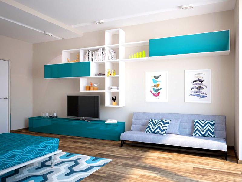 Голубой и бирюзовый цвет отлично подходит для комнаты девочки-подростка