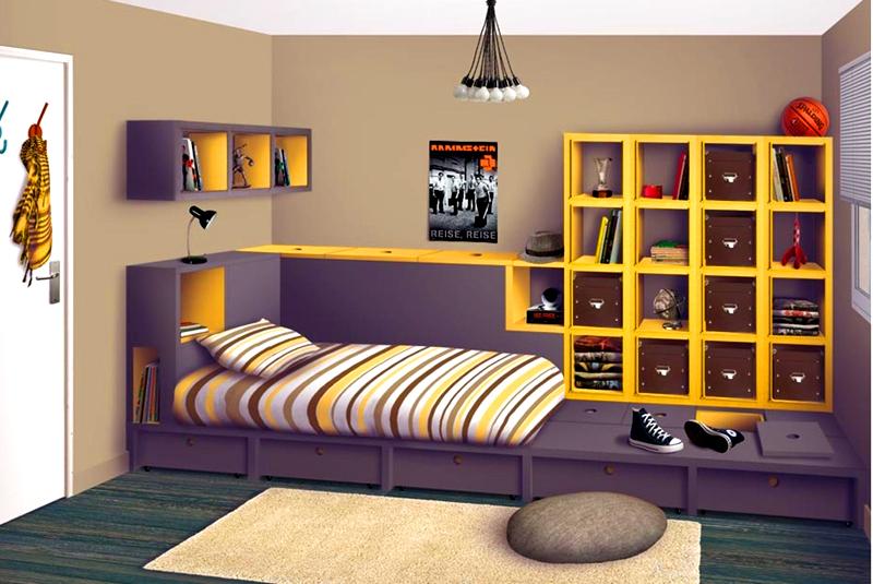 Открытый стеллаж рядом с кроватью – идеальное решение для хранения