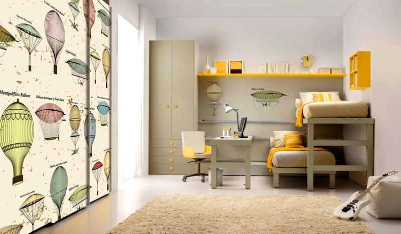 Необычный способ размещения кроватей для двух детей, проживающих в одной комнате