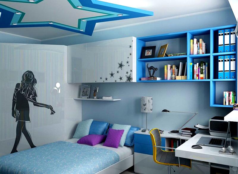 Для девочки, которая мечтает стать певицей или актрисой, хороший вариант оформления комнаты в стиле «звёздного дома»