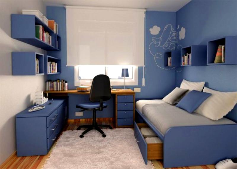Комната в голубых тонах – идеальное место для отдыха и спокойной учёбы
