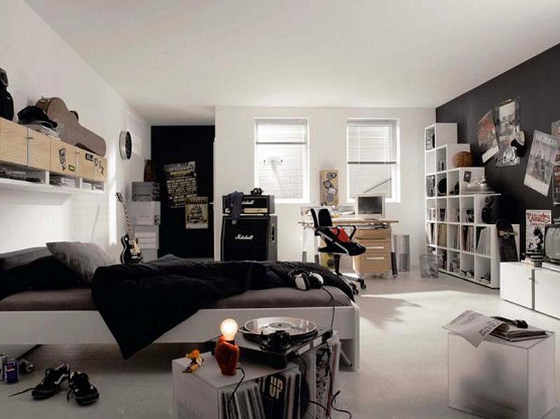 Подростку 16-17 лет понравится стильная чёрно-белая комната
