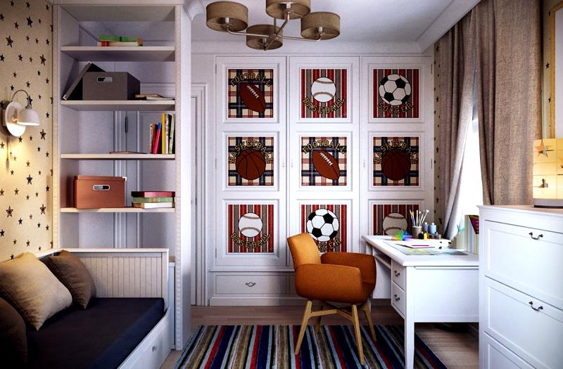 Любителю спорта понравится оформление стены с мячами