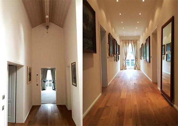 Обстановка в доме довольно сдержанная. В качестве декора выступают только картины в классических рамах и зеркало