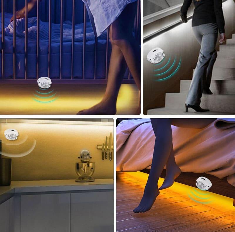 Мягкий свет поможет, не тревожа домашних, дойти до нужной точки комнаты, например, к столу или окну