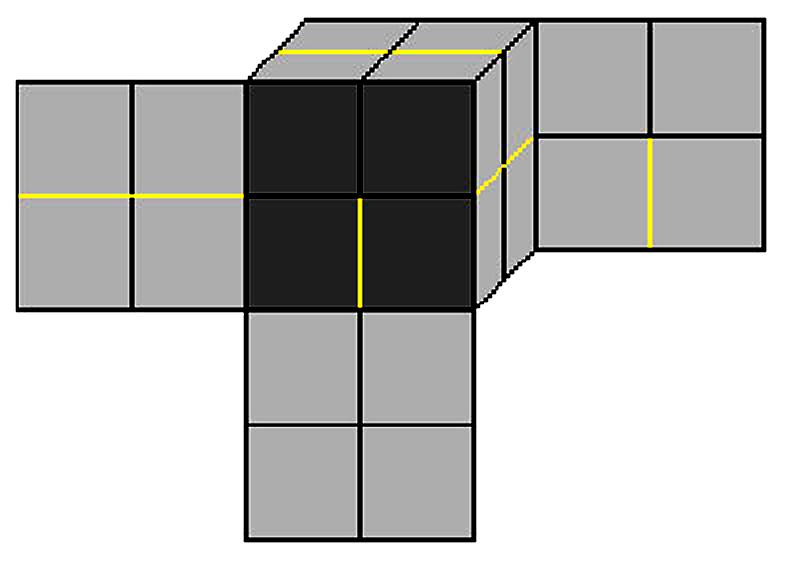 Схема складывания кубика<
