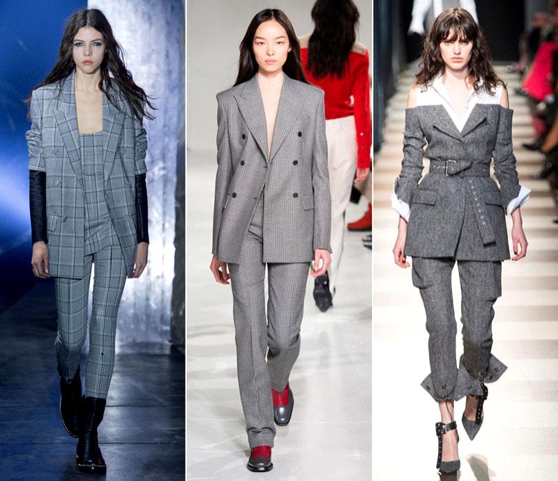 Деловой брючный костюм тоже может выглядеть модно и стильно