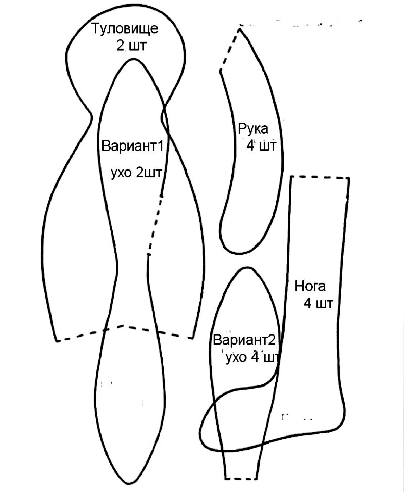 Выкройка зайца Тильды в формате А4