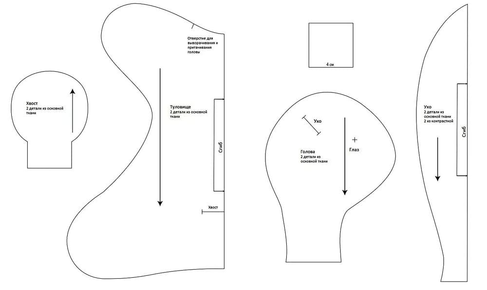 Выкройка зайки-сплюшки в натуральную величину