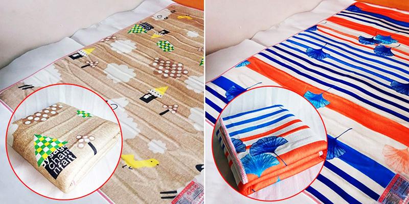 Материал не пропускает влагу, а само одеяло выпускается в 2 размерах 70×150см, 65×145 см