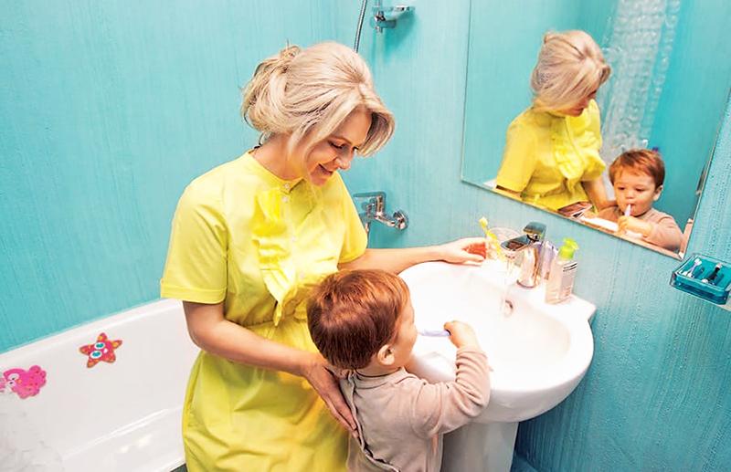 Каждая комната оформлена в своём цвете, для ванной выбрали бирюзу