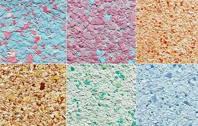 Флок состоит из небольших хлопьев разного цвета и размера