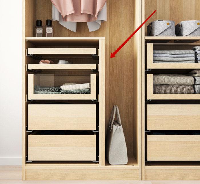 Такое решение позволит компактно размесить короткую одежду, максимально эффективно используя пространство