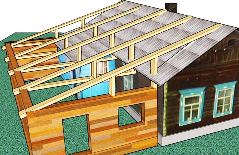 Продление крыши на оба дома