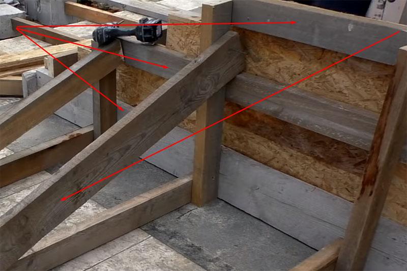 Фундамент подъёмов ступеней выставляется по лазерному или пузырьковому уровню