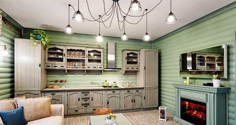 К кухонному гарнитуру докупили шкаф-пенал, оформленный во французском стиле, а также открытый стеллаж из массива сосны