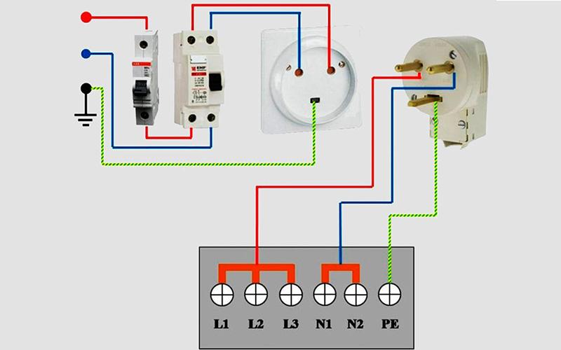 Схема подключения электродуховки через УЗО или дифавтомат
