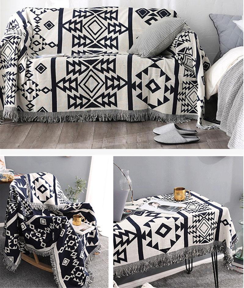 Богемное геометрическое трикотажное покрывало для дивана станет прекрасным подарком для тех, кто ценит уют